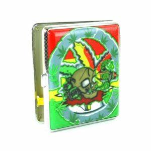 Boite Cigarettes Métal Cannabis Tête de Mort