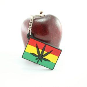 Porte-Clés Feuille de Cannabis Noire