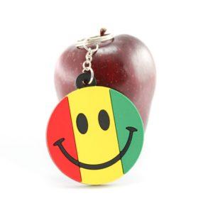 Porte-Clés Rasta Smiley Vert Jaune Rouge