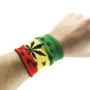 Bandeau de Poignet Rasta Cannabis Etoiles