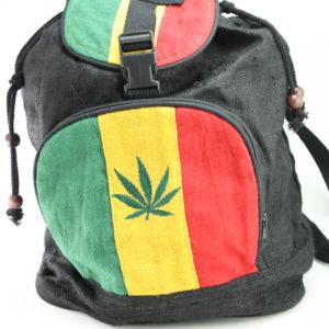 Sac à Dos Chanvre Naturel Bio Equitable Motif Cannabis Vert Jaune Rouge Noir