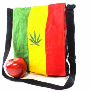 Sac Messager Feuille Cannabis Vert Jaune Rouge Fermeture zip