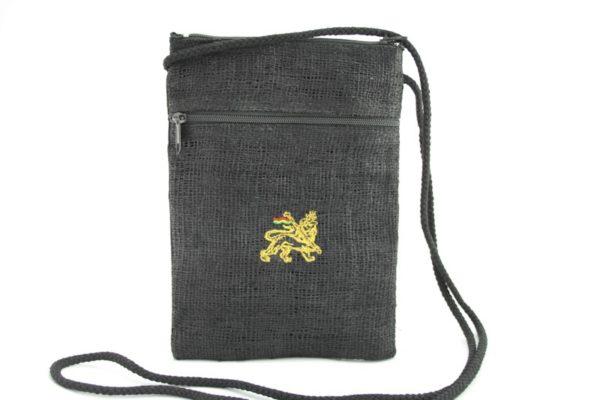 Sac Passeport Noir Chanvre Lion de Juda Zip