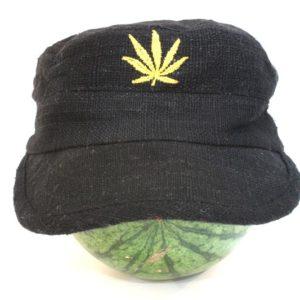 Casquette Chanvre Noire Feuille de Cannabis Dorée Or