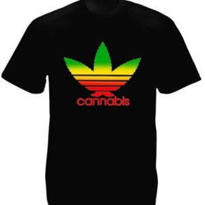 T-Shirt Noir Manches Courtes avec Logo Adidas en Feuille de Cannabis Verte Jaune Rouge
