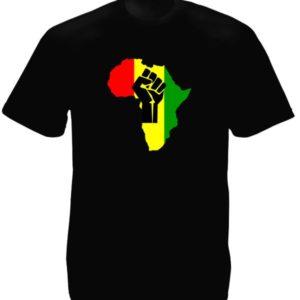 Tee-Shirt Noir Afrique Unie Couleurs Panafricaine Manches Courtes
