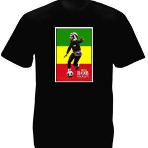 T-Shirt Noir Manches Courtes Bob Marley Footballeur avec Drapeau Rastafari Vert Jaune et Rouge