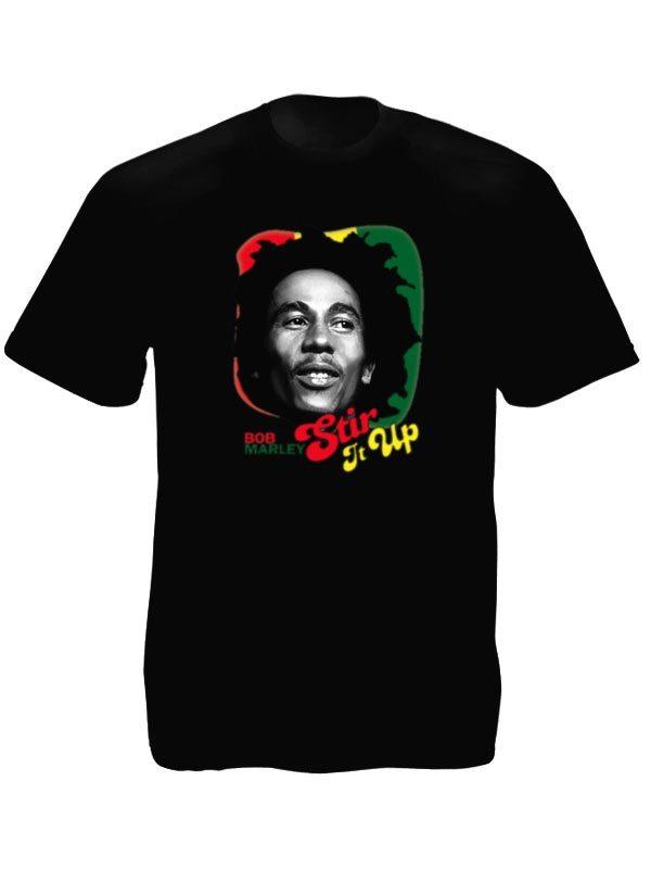 Tee-Shirt Noir Bob Marley Stir It Up pour Homme Taille L