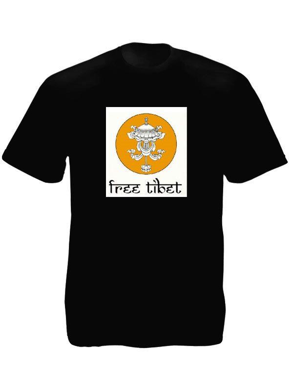 T-Shirt Noir Tibet Libre Symbole Bouddhisme Parasol Tibétain Manches Courtes