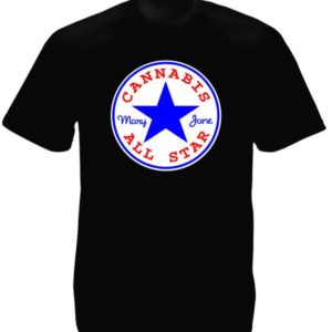 Tee-Shirt Noir Homme Logo Etoilé Marque Converse Cannabis en Coton