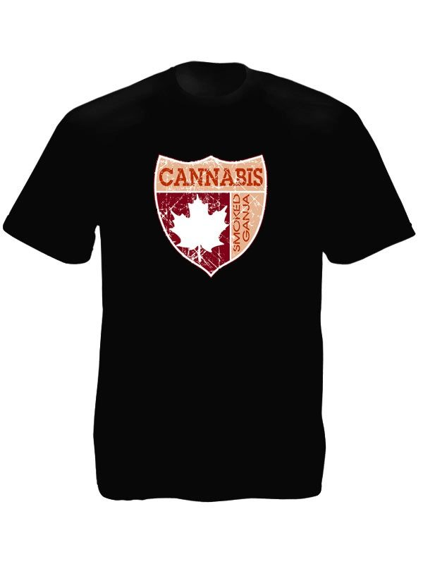 T-Shirt Coloris Noir Taille Large Smoked Cannabis Canada Manches Courtes