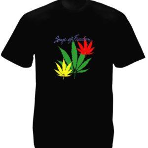 Reggae T-Shirt Noir Coton Feuilles de Cannabis Homme Col Rond