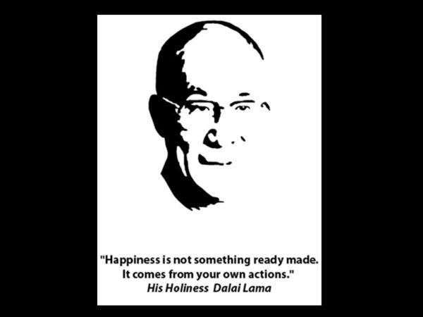 Dalaï-lama Tee-Shirt Noir Bouddhiste Manches Courtes pour Homme