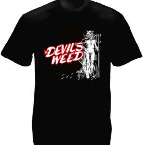 T-Shirt Noir Devil's Weed Cannabis Manches Courtes pour Homme