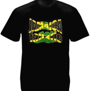Fanatique de la Jamaïque Tee-Shirt Noir Homme Coton Couleur Drapeau jamaïcain