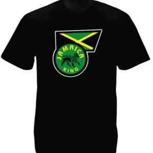 T-Shirt Noir Manches Courtes Drapeau de la Jamaique Frappe du Lion de Juda