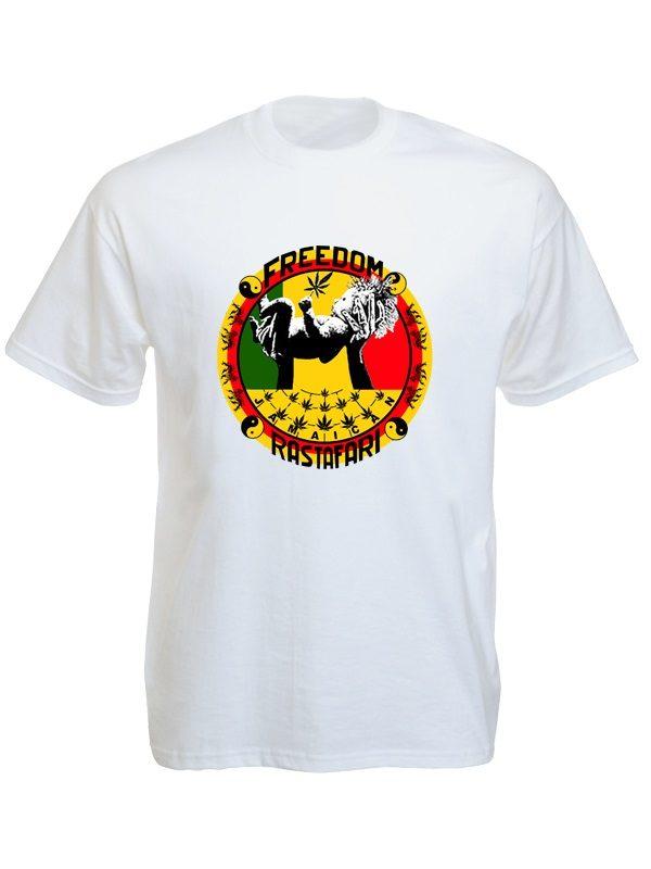 T-Shirt Blanc Freedom Jamaican Rastafari Manches Courtes