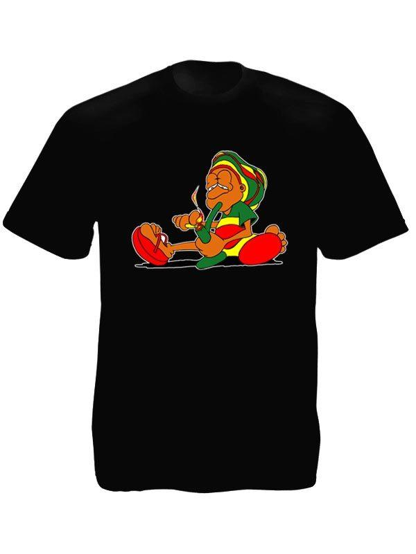 Tee-Shirt Noir Baba Cool Drôle Imprimé pour Homme à Col Rond