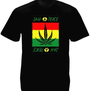 Style Reggae Tee-Shirt Noir Homme Jah Peace and Love