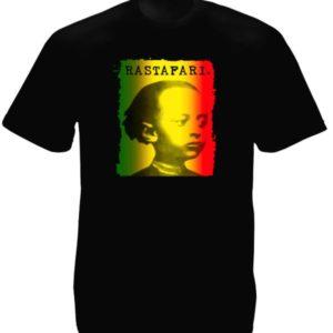 Tee-Shirt Noir Spirituel Rastafari Photo Empereur Ethiopien Jeune