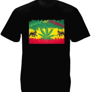 House of Reggae T-Shirt Noir Manches Courtes Rastafari