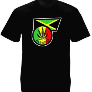 T-Shirt Jamaïcain Noir Collection Rasta Taille L Col Rond en Coton