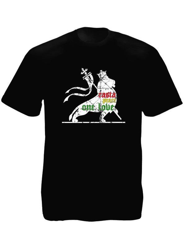 Rasta Tee-Shirt Noir de Qualité Dessin Lion Manches Courtes