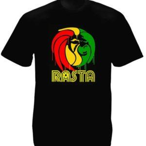Graff Lion Rasta Tee-Shirt Noir en Coton à Manches Courtes