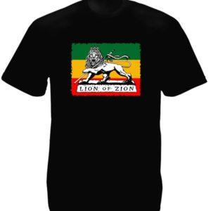 Tee-Shirt Noir Lion de Sion Emblème Rastafari Manches Courtes