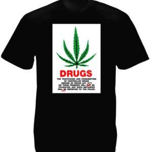 Tee-Shirt Noir Feuille Cannabis Loi Drogue Grande-Bretagne Manches Courtes