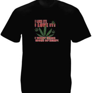 Feuilles de Cannabis Tee-Shirt Noir I Love Hemp Taille Large Homme