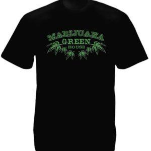 Tee-Shirt Noir Pays-Bas Plantation Cannabis en Intérieur Manches Courtes