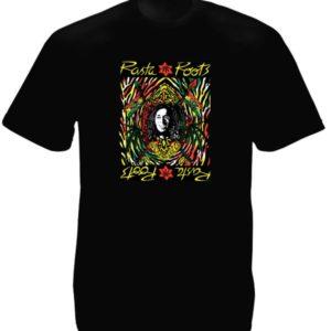 Tee-Shirt Rasta Roots Vibration Couleur Noire Coton
