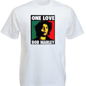Tee-Shirt Blanc Vintage Bob Marley Pop Art Manches Courtes