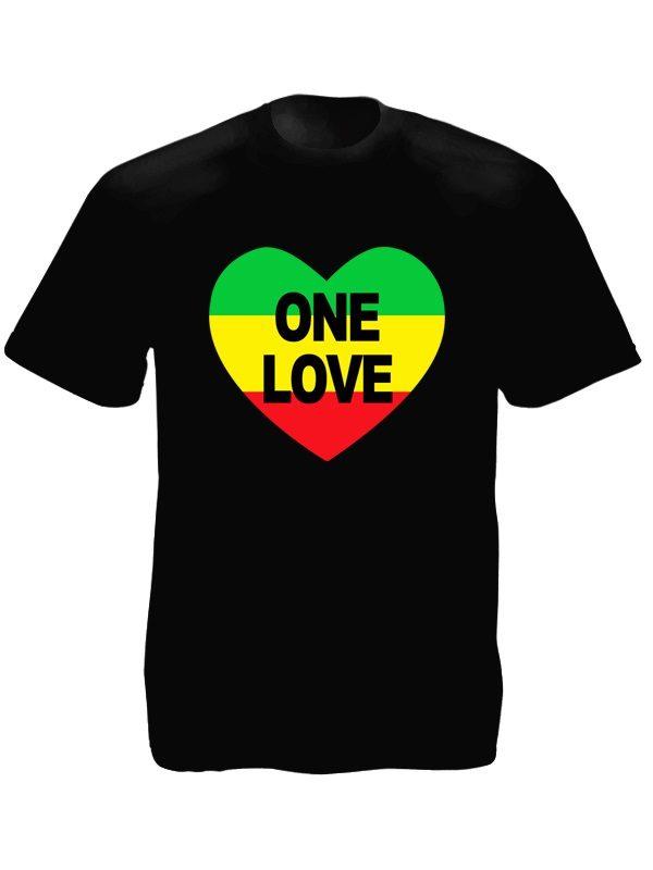 T-Shirt Noir Rasta Amour pour le Reggae et Bob Marley Manches Courtes