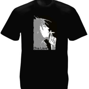 T-Shirt Noir Inédit Bob Marley One Love Manches Courtes