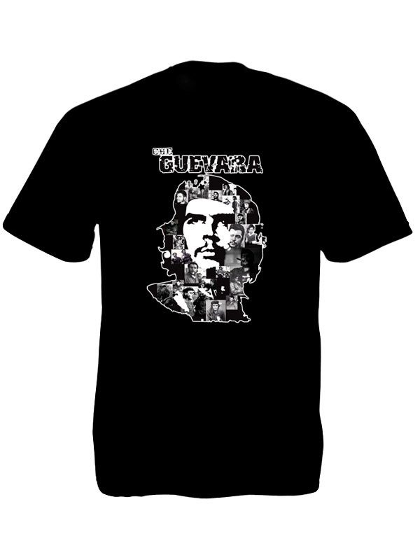 T-Shirt Noir Original Révolutionnaire Che Guevara Taille Large en Coton