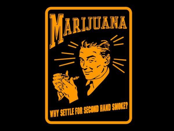 T-Shirt Noir en Coton Vieille Réclame pour le Cannabis Style Années 30 Rétro