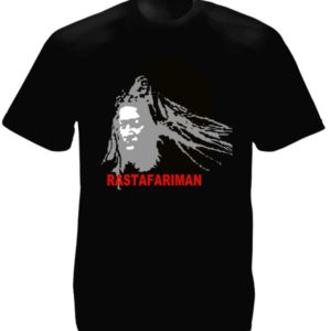 T-Shirt Noir Portait Rastafari Man Jamaïque Manches Courtes