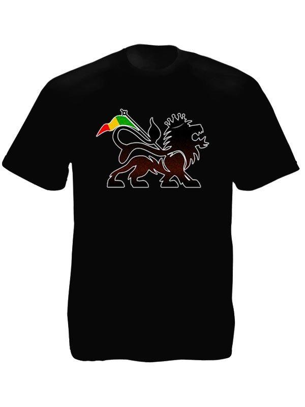 T-Shirt Noir a Manches Courtes avec Symbole Rastafari Lion de Juda Stylise