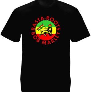 Bob Marley T-Shirt Noir Manches Courtes Rasta Roots pour Homme