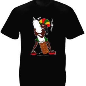 Tee-Shirt Couleur Noire Imprimé Rasta Accro au Cannabis