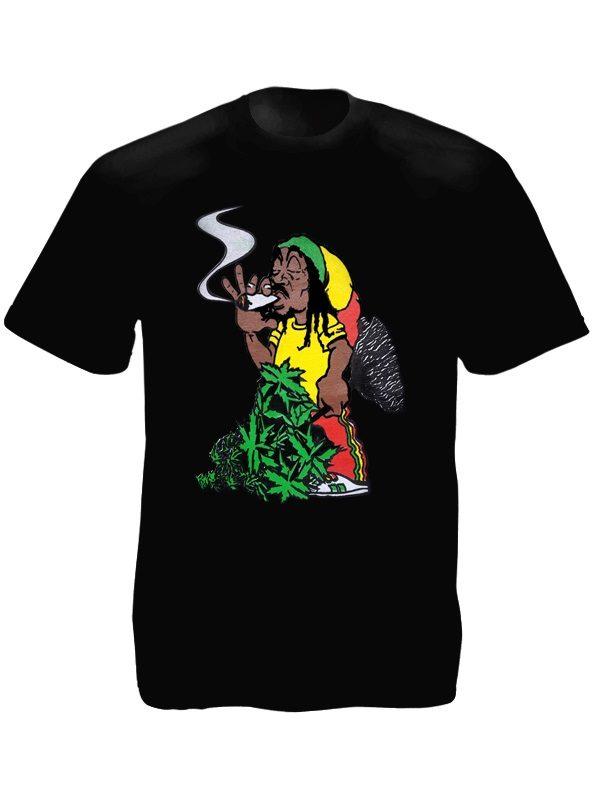 T-Shirt Noir Taille L Imprimé Comique Caricature Rasta en Coton