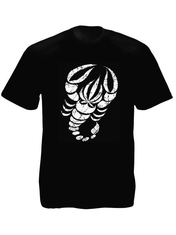 Tee-Shirt Noir Homme Impression avec Scorpion et Cannabis en Coton Bio
