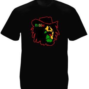Lion Rasta T-Shirt Noir à Manches Courtes Reggae en Coton