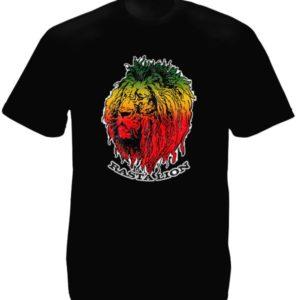 Lion Rasta Tee-Shirt Coton Bio Noir Hailé Sélassié Homme ou Femme