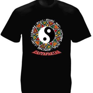Rastafarian T-Shirt Noir Ethnique Symbole Chinois Taille L Col Rond
