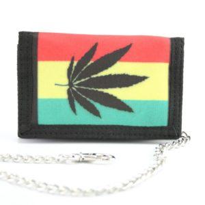 Portefeuille Tissu Chaîne Feuille de Marijuana Noire
