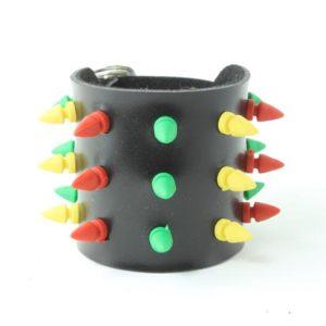Bracelet de Force Vert Jaune Rouge Pics PVC