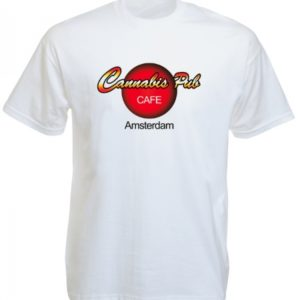T-Shirt Coloris Blanc Coffee Shop Amsterdam Taille Large Manches Courtes